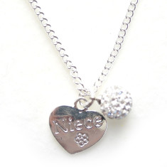 Niece heart necklace with diamonté pendant