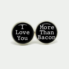 I love you more than bacon silver or antique cufflinks
