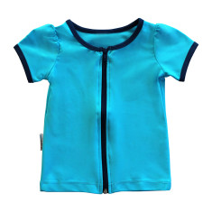 Short sleeve rashie for girls in Aquamarine