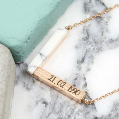 Personalised Marble and Rose Gold Chevron Necklace