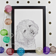 Cockapoo Dog Line Portrait Print