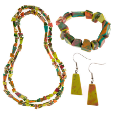 South Pacific artisan chunk bracelet, earrings & necklace set