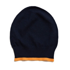 Cashmere Navy beanie with orange neon