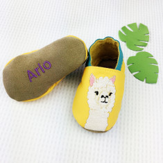 Personalised Embroidered Alpaca baby shoes