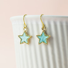 Blue golden star earrings