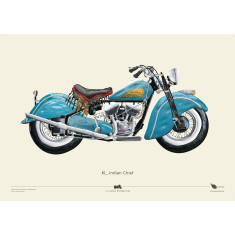 Indian Chief + Harley ElectraGlide motorcycle posters