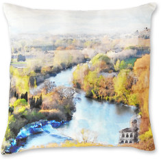 Beziers River Scene linen cushion cover