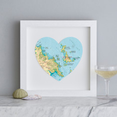 Whitsunday Islands map heart print