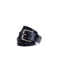 Weave leather belt in steele black