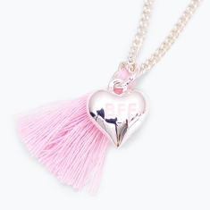 Chain necklace with BFF heart charm and tassel