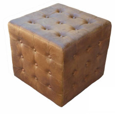 Tan Leather Ottoman Cube With Buttons (upholstered)