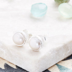 Cupcake Stud Earrings In Silver With Pearl