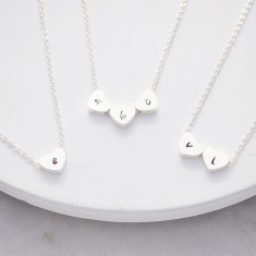 Personalised hand stamped heart initials necklace in silver