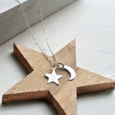 Personalised Sterling Silver Little Moon and Initial Star Necklace