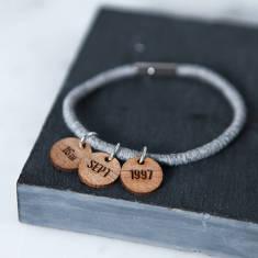 Personalised Date Charm Bracelet