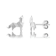 Wolf Origami Stud Earrings
