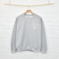 Personalised monogram initial heart sweatshirt
