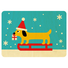 Mr Sausage Dog wooden Christmas postcard