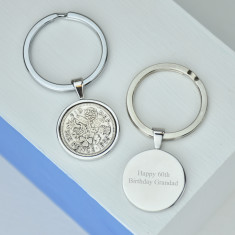 Sixpence 60th birthday coin key ring