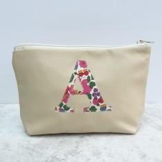 Leather & Liberty Print Monogrammed Cosmetic Bag