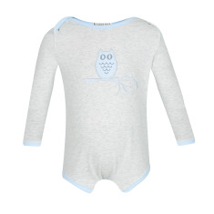 Grey marle owl bodysuit with soft blue trim