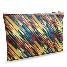 Colourful Retro Striped Vegan Leather Pouch Clutch Bag