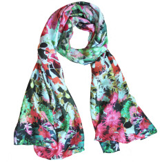 Native bloom pink silk scarf