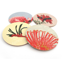 Native flower coasters (kangaroo paw, pea, waratah, grevillea) (set of 4)