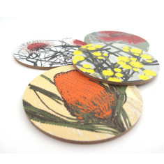 Native flower coasters (hakea, banksia, wattle, gum) (set of 4)