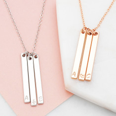 Personalised hand stamped vertical bar heart or ampersand necklace in silver or rose gold