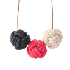 Nautical knot necklace in navy, scarlet and natural