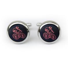Cyclist cufflinks in navy & pink