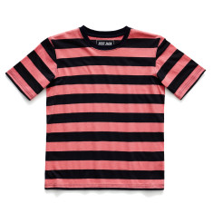 Boys' navy and pink striped round neck t-shirt