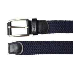 Woven elastic navy men's belt with black leather