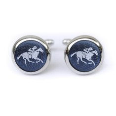 Horse cufflinks in navy