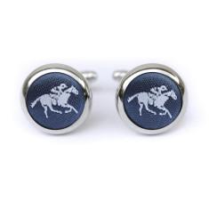 Horse cufflinks in navy