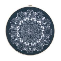 Handmade emboridery hoop doily screen print - navy