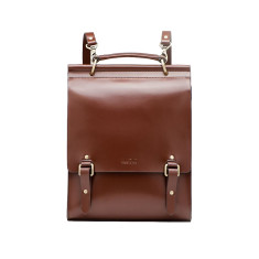 Leather city backpack in brown