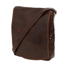 Pure Italian leather messenger bag in chocolate
