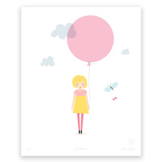 Pink balloon art print
