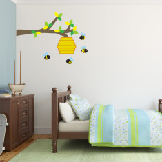 Branch With Bees and Hive Wall Sticker