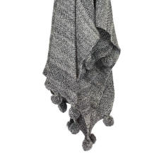 Pom Pom Throw Blanket - Storm (charcoal)
