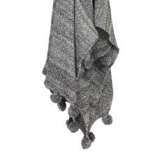 Pom Pom Throw Blanket - Storm (charcoal)