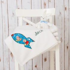 Personalised Retro Rocket Baby Blanket