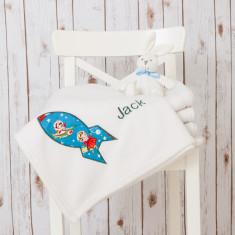 Personalised Retro Rocket Baby Blanket