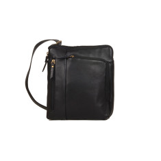 Alfieri genuine leather satchel in black