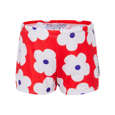 Red flower swimmer trunks