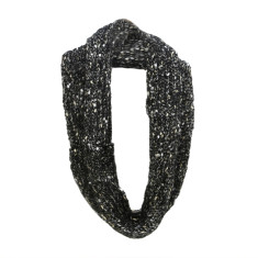 Black and gold dust knitted loop scarf