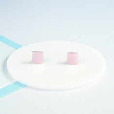 Mini Acrylic love square studs - pearlescent pink