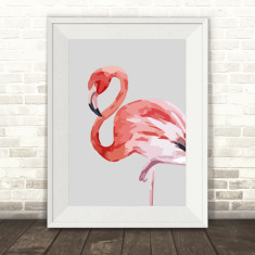 Watercolour Flamingo Print